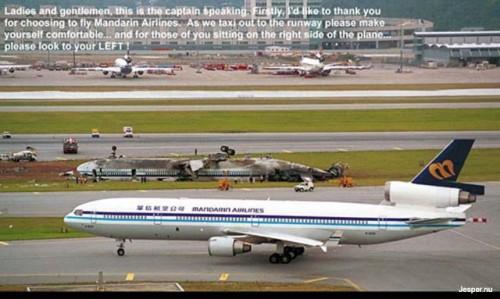 Kapten talar till passagerarna