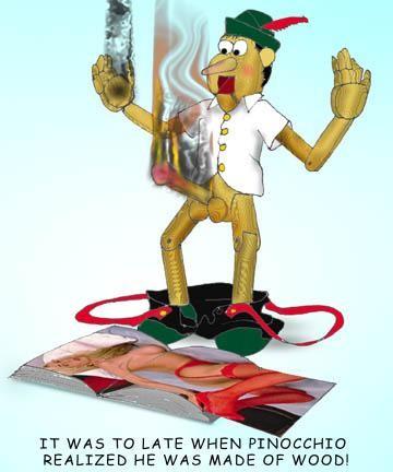 Pinocchio upptäcker att han är gjord av
