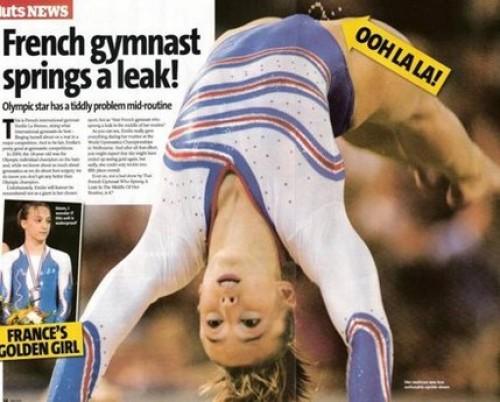 Gymnast kissar på sig