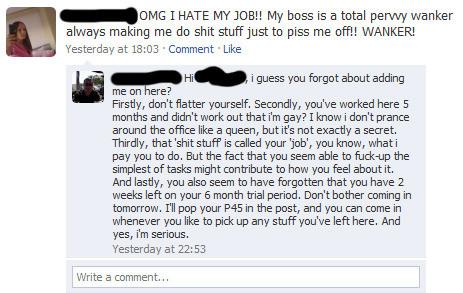 Att ha chefen på Facebook