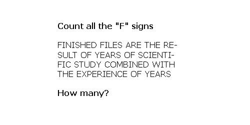 Räkna alla F, hur många?