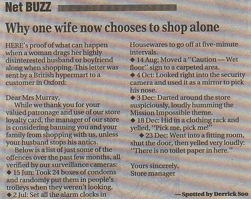 Därför hon shoppar ensam