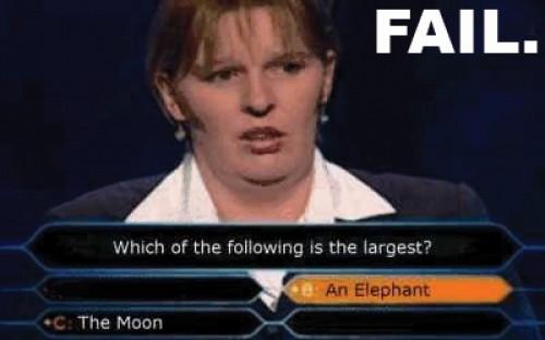 Vad är störst av en elefant och månen?