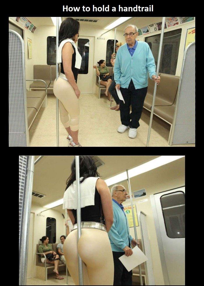 Ett sätt att hålla i sig på tunnelbanan